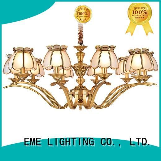 glass hanging antique brass 5 light chandelier residential for big lobby EME LIGHTING