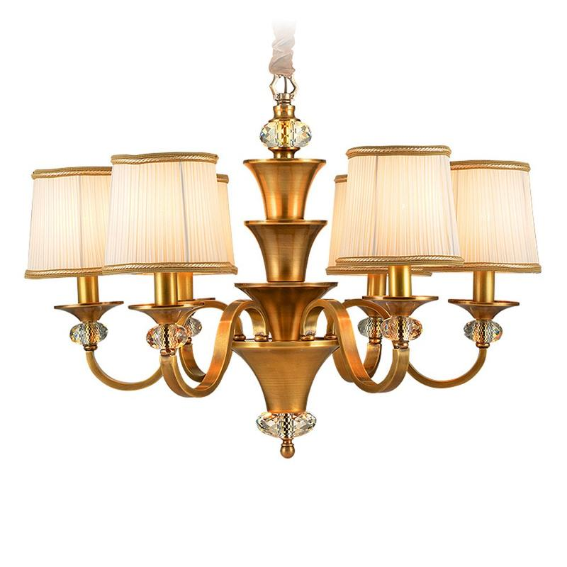 Brass Chandelier With Shades For Living Room  (EYD-14205-6)