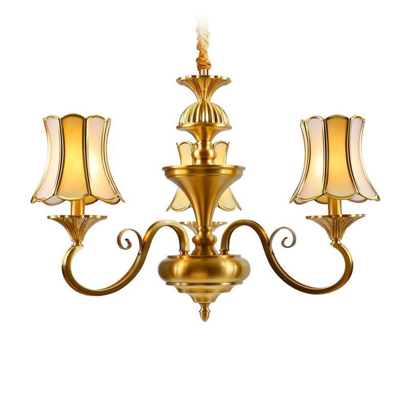 3 Light Brass Chandelier  (EAD-14009-3)