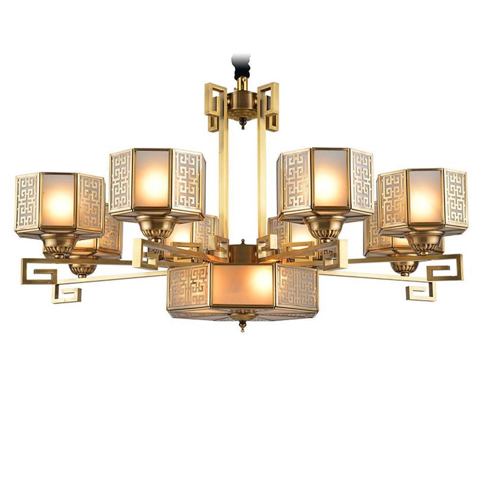 Copper Glass Chandelier (EAD-14002-8)