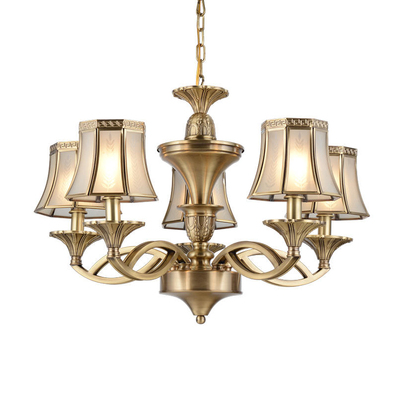 Brass Chandelier With Glass Shades (EAD-14007-5)