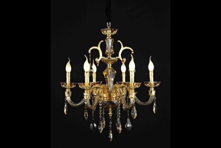 EME LIGHTING Candle Chandelier (2002-6-Gold) Crystal Chandelier image3