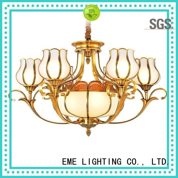 copper chandelier over dining table glass hanging for big lobby EME LIGHTING