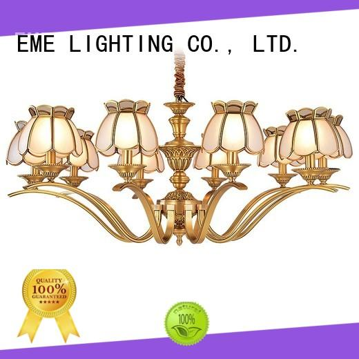 EME LIGHTING contemporary gold brass chandeliers glass hanging for home