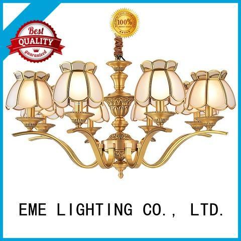 EME LIGHTING decorative antique brass 5 light chandelier glass hanging for big lobby