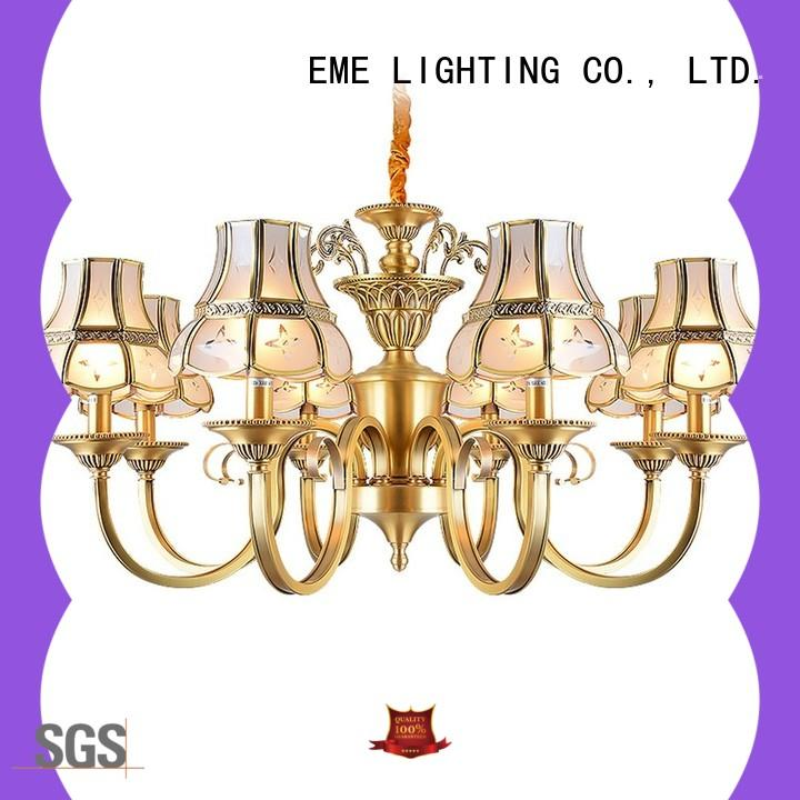 concise polished brass chandelier vintage for big lobby EME LIGHTING