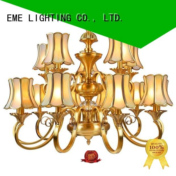 EME LIGHTING glass hanging brushed brass chandelier European for home