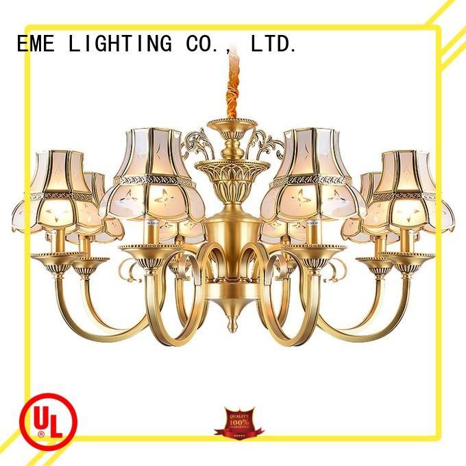 american style 8 light brass chandelier copper for big lobby EME LIGHTING