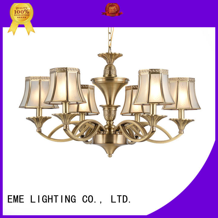 glass hanging polished brass chandelier american style for dining room EME LIGHTING