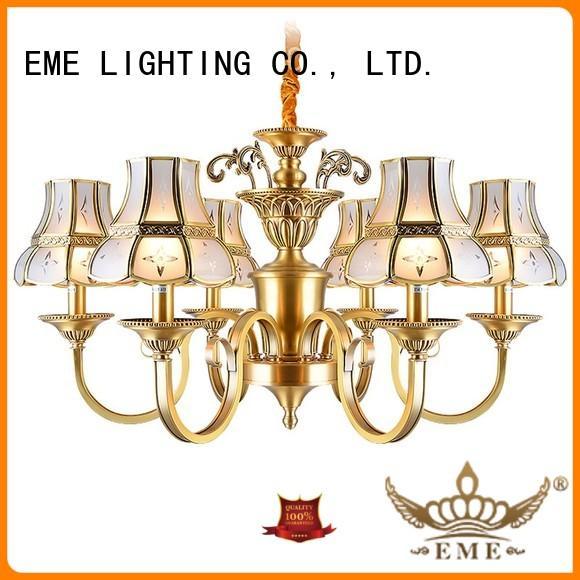 glass hanging antique brass chandelier vintage for big lobby EME LIGHTING