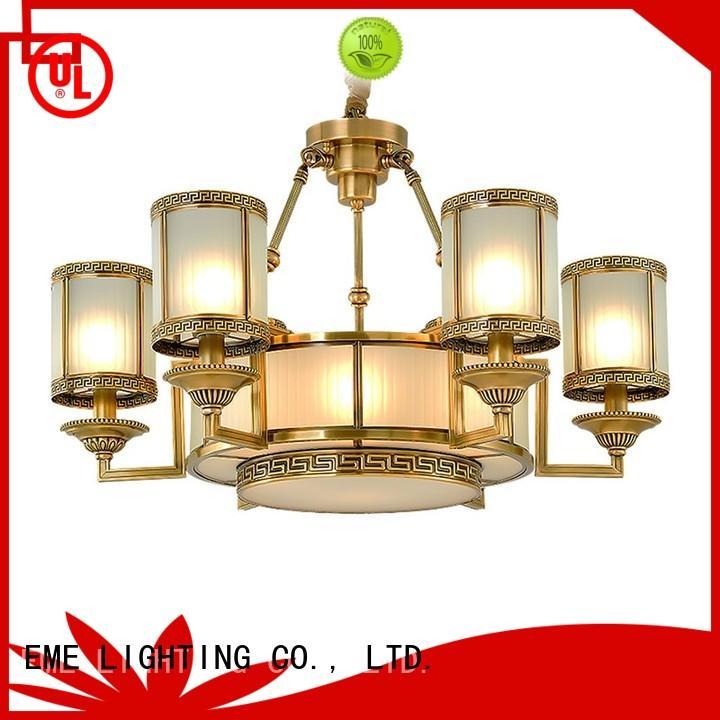 3 light brass chandelier american style for big lobby EME LIGHTING