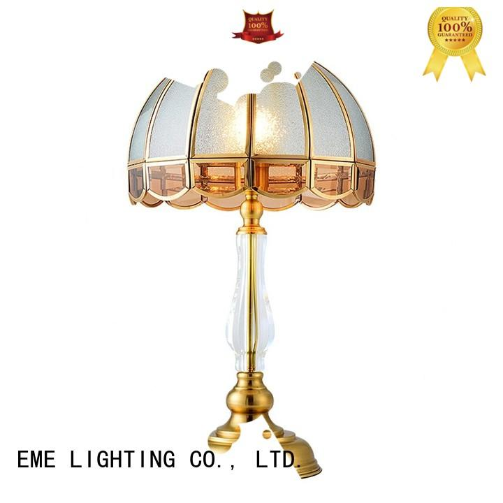 European style wood table lamp modern copper material for study EME LIGHTING