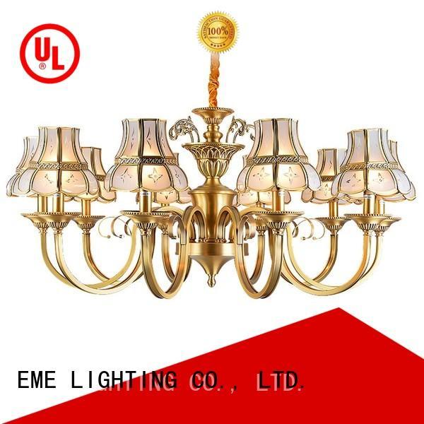 EME LIGHTING american style 8 light brass chandelier vintage for big lobby