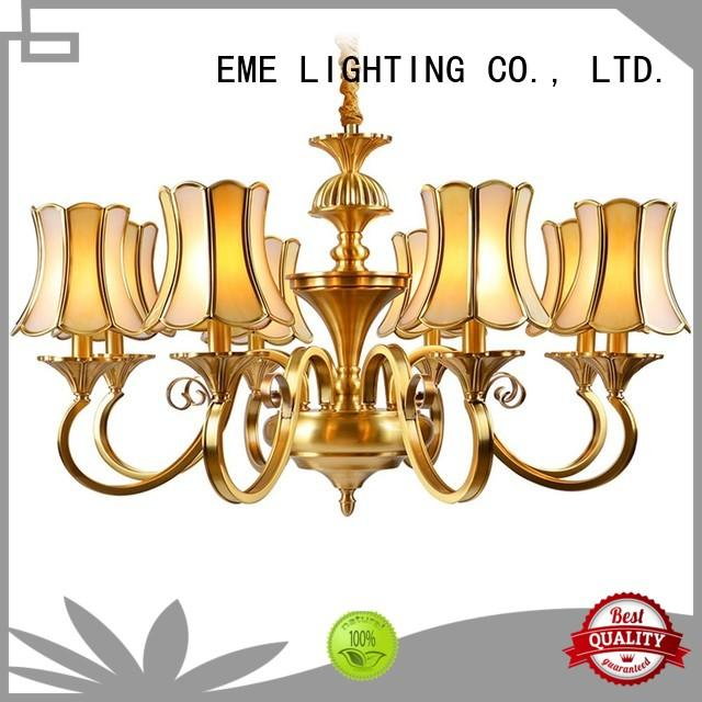 EME LIGHTING large 10 light brass chandelier unique