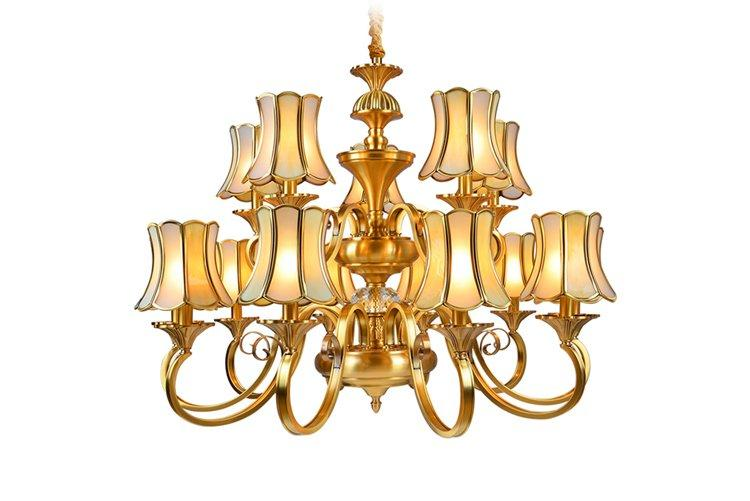 EME LIGHTING glass hanging brushed brass chandelier European for home-1