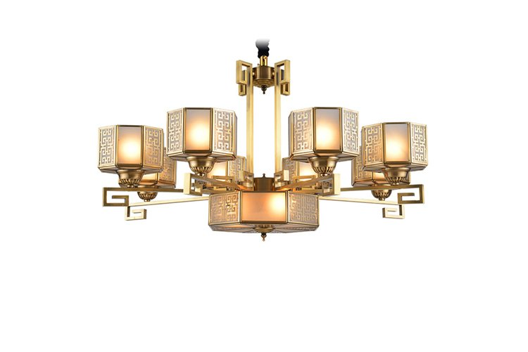 high-end antique brass chandelier large residential for dining room-1