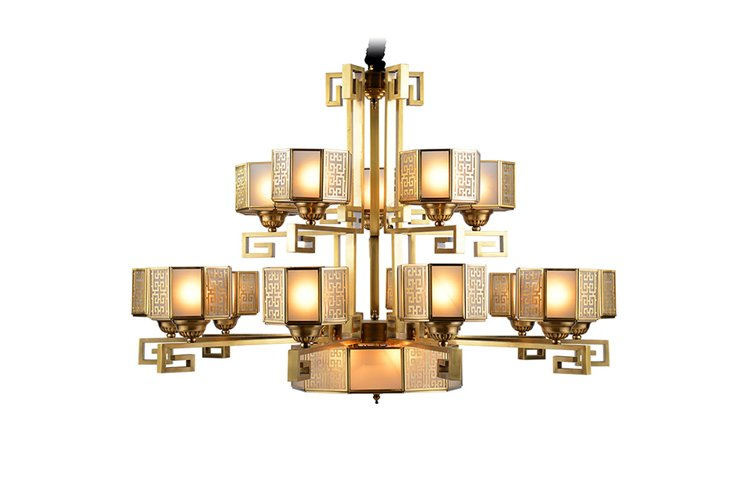 EME LIGHTING glass hanging antique brass chandelier residential for home-1