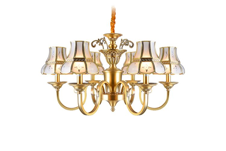 luxury vintage brass chandelier glass hanging residential for big lobby-1