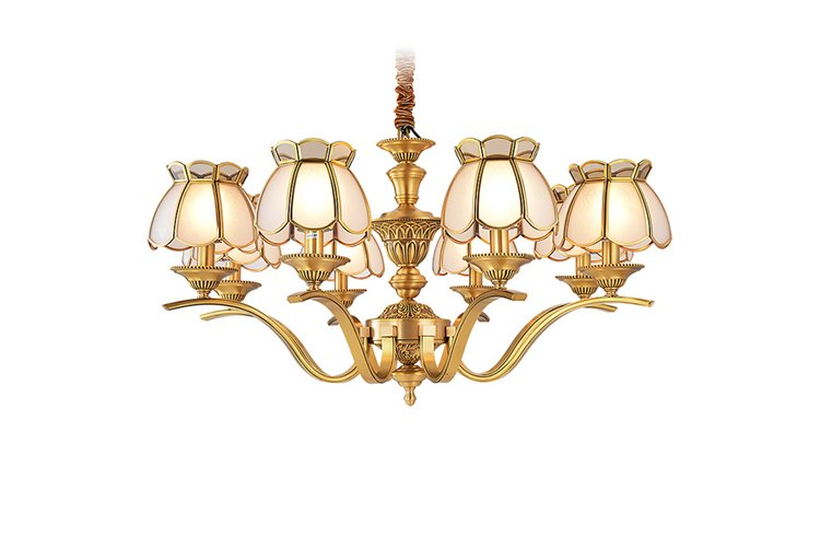 modern solid brass chandelier american style round for dining room-1