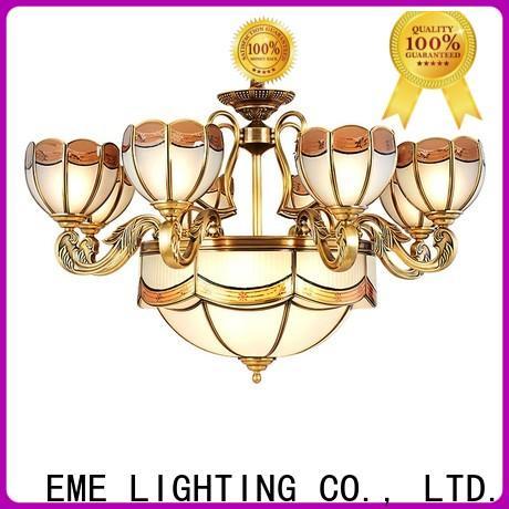EME LIGHTING copper chandelier over dining table vintage