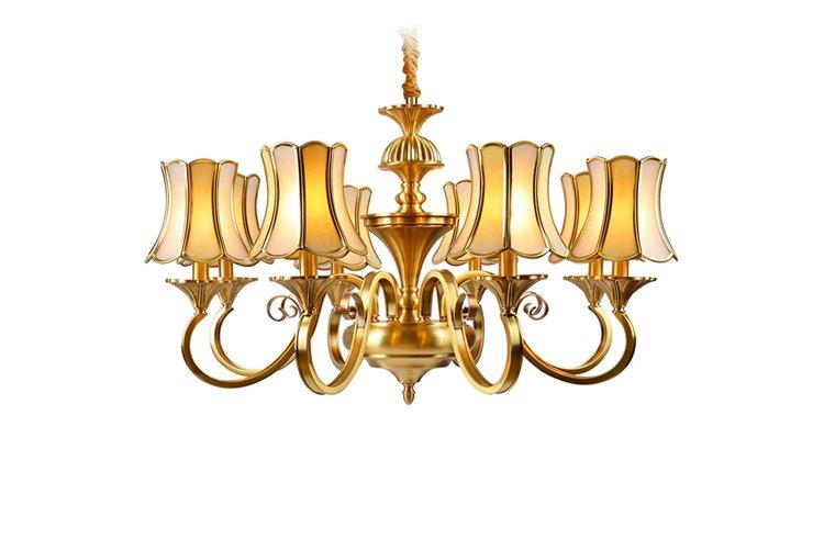 concise antique brass chandelier glass hanging round for dining room-1
