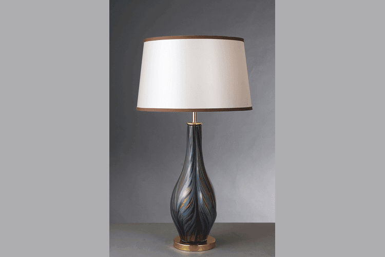 black colored table lamp gold traditional for restaurant-1