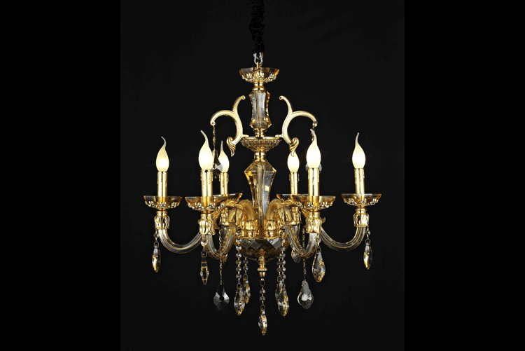 Candle Chandelier (2002-6-Gold)-1
